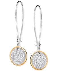 Swarovski Two Tone Glittery Disc Drop Earrings