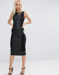 Asos Leather Look Panelled Sexy Bodycon Dress Black