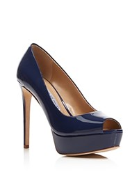 Charles David Nivia Peep Toe High Heel Platform Pumps Navy