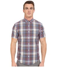 Original Penguin P55 Short Sleeve Plaid Dark Sapphire Men's Short Sleeve Button Up Blue