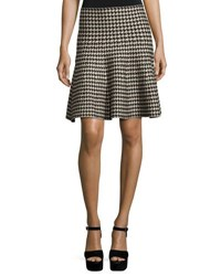Max Studio A Line Sweater Houndstooth Skirt Black Pattern