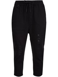 Publish Cropped Drawstring Trousers Black