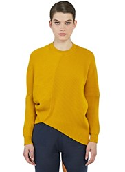 Stella Mccartney Oversized Asymmetric Ribbed Knit Sweater Yellow
