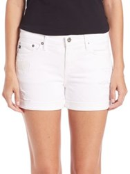 Ag Jeans Hailey Rolled Distressed Shorts White