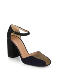 Marni Colorblock Suede Mary Jane Pumps Black Brown
