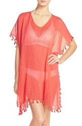 Women's Seafolly 'Amnesia' Cotton Gauze Cover Up Caftan Coral Nectarine