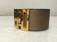 Barnbury Leather Cuff With Gold Plated Clasp Bronze