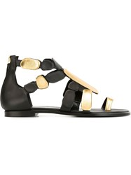 Pierre Hardy Rear Zip Flat Sandals Black