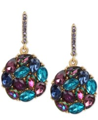 Betsey Johnson Gold Tone Purple And Blue Crystal Round Drop Earrings Blue Multi