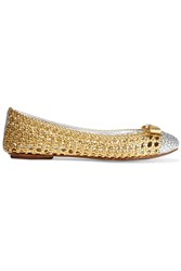 Tory Burch Carlyle Woven Metallic Leather Ballet Flats
