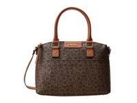 Calvin Klein Hudson Monogram Satchel Brown Khaki Luggage Saffiano Satchel Handbags Tan