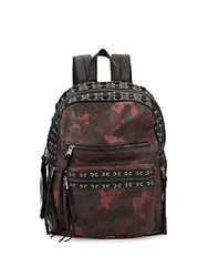 Ash Billy Leather Camo Backpack Bordeaux Black