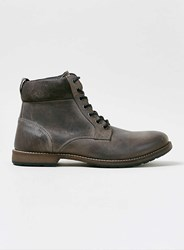 Topman Grey Leather Cuff Boots