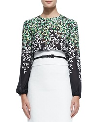 Carolina Herrera Silk Clover Print Degrade Blouse