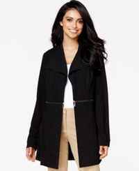 Alfani Petite Textured Side Zip Jacket Only At Macy's Deep Black
