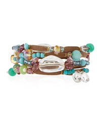 Greenbeads By Emily And Ashley Beaded Multi Wrap Bracelet With Cabochons And Rhinestones Brown