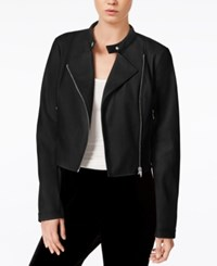 Bar Iii Cropped Faux Leather Jacket Only At Macy's Deep Black
