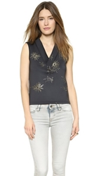 Cynthia Rowley Bonded V Neck Top Galaxy Print