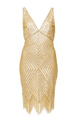 Naeem Khan Diamond Fringed Cocktail Dress Gold
