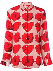 Paul Smith Ps By 'Rose' Print Longsleeved Shirt Red