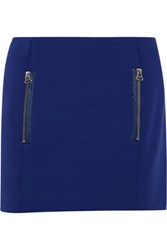 Maje Diddle Leather Trimmed Twill Mini Skirt Royal Blue