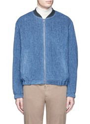 Tomorrowland Striped Tweed Padded Bomber Jacket Blue