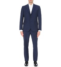 Hardy Amies Brinsley Fit 3 Piece Wool And Mohair Suit Bright Blue