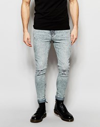 Cheap Monday Jeans Mid Spray Extreme Superstretch Skinny Fit Master Light Blue Distress Knees Master Light Blue