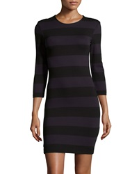 French Connection Long Sleeve Striped Ponte Dress Black Utility Blue