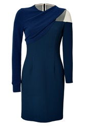 Marios Schwab Knit Crepe Long Sleeve Dress Blue