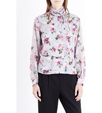 Topshop Unique Wrap Over Rose Print Silk Chiffon Blouse