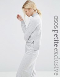 Asos Petite Fluffy Sweatshirt With High Neck Co Ord Grey