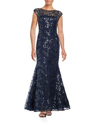 Vera Wang Sequined Floral Trumpet Gown Mid Summer Night