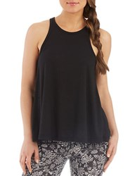 Free People Long Beach Ribbed Tank Top Black