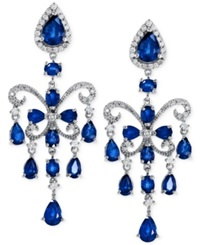Effy Collection Effy Sapphire 7 1 2 Ct. T.W. And Diamond 5 8 Ct. T.W. Chandelier Earrings In 14K White Gold Blue