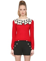 Boutique Moschino Ruffle Jacquard Wool Knit Sweater