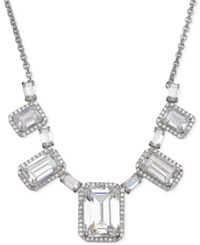 Arabella Swarovski Zirconia Graduated Frontal Necklace In Sterling Silver Clear