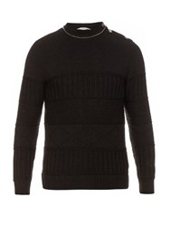 Givenchy Multi Knit Wool And Cotton Blend Sweater Black