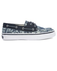 Sperry Blue Bahama Palm Tree Print Canvas Boat Shoes