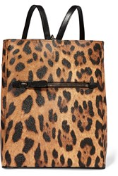 Dolce And Gabbana Leopard Print Textured Leather Backpack Animal Print