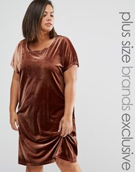 One Day Plus Allover Velvet Mini Shift Dress Chocolate Brown