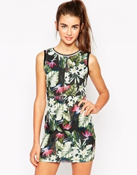 Daisy Street Bodycon Dress In Leaf Print Black