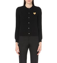 Play Embroidered Heart Wool Cardigan Black