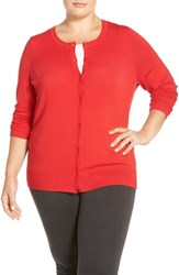 Sejour Plus Size Women's Crewneck Cardigan Red Pepper