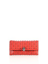 Alexander Mcqueen Skull Studded Leather Continental Flap Wallet Love Red