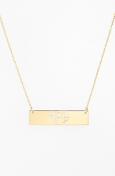 Jane Basch Designs Personalized Cutout Bar Pendant Necklace Gold