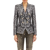 Balmain Women's Double Breasted Antoinette Blazer Black Grey Blue Black Grey Blue