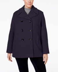 Calvin Klein Plus Size Wool Cashmere Double Breasted Peacoat Midnight