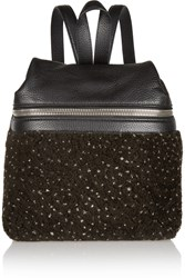 Kara Small Textured Leather And Shearling Backpack