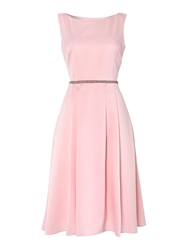 Shubette Midi Stretch Sateen Beaded Waist Pink